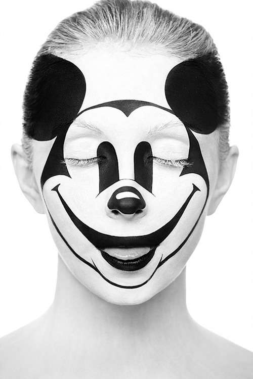 A painted Mickey Mouse Face