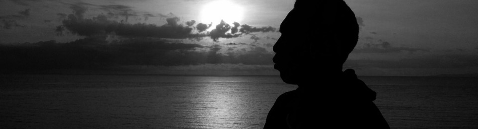 Black and White Silhouette of a Sunset