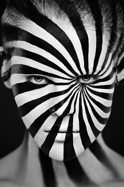 Black and White Painted Face by Alexander Khokhlov