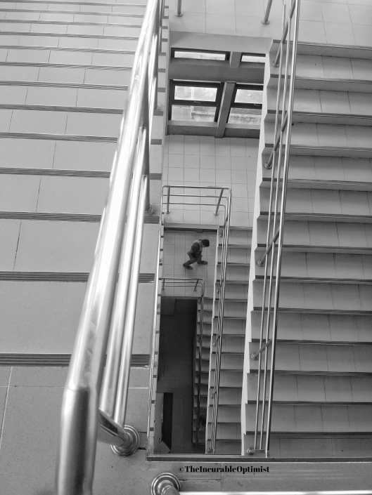 Man on a flight of stairs