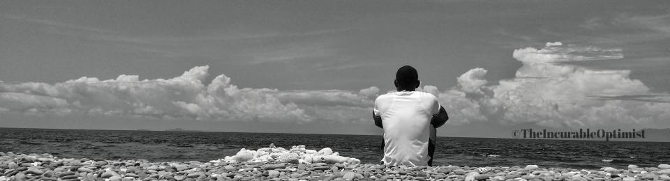 Man on a stony Beach
