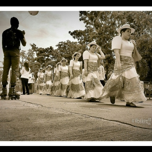 Monochrome picture of a Batangas Day procession